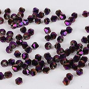 Venta al por mayor Moda 50pcs 4MM Crystal Bicone Beads Glass loose Spacer Beads cuentas de ropa, pulsera, collares, accesorios, placa púrpura