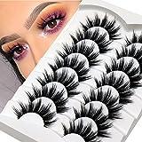 Veleasha False Lashes Natural Look Wispy Faux Mink Eyelashes 18MM Resuable Lightweight False Eyelashes 7 Pairs Pack Everyday Lashes
