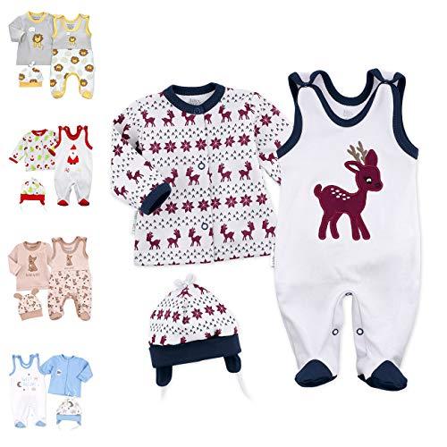 Baby Sweets Unisex 3er Baby-Set mit Strampler, Shirt & Mütze für Jungen & Mädchen in Braun Blau/Erstausstattung Strampler-Set im Rentier-Motiv für Neugeborene & Kleinkinder in Größe: Newborn (56)