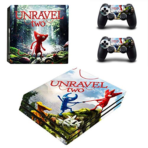 FENGLING Juego Unravel Two Ps4 Pro Skin Sticker Decal para Playstation 4 Console y 2 Controller Ps4 Pro Skin Sticker Vinilo