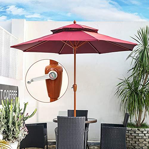 Erru Parasol Jardin Parasol de Jardín Redondo de 2.7M - Rojo Sombrillas Exteriores con Manivela y Ventilación de Aire, para Piscina Playa Patio, Paraguas Portátil de Mercado