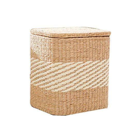 MWPO Aufbewahrungsboxen Ottoman Adults Foot Stool Rest Rattan Weaving Footstools Pouffes Multifunktionshocker Stuhl für Wohnzimmer Schlafzimmer