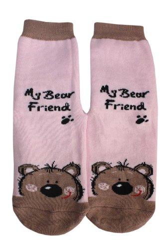 Weri Spezials Chaussettes pour Enfants avec ABS, Couleur: Rose, My bear friend, Taille: 12-24 mois (19-22)