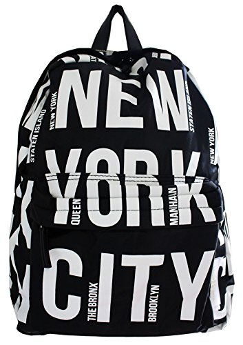 Robin Ruth NYC Bold Letter Polyester Backpack Black/White