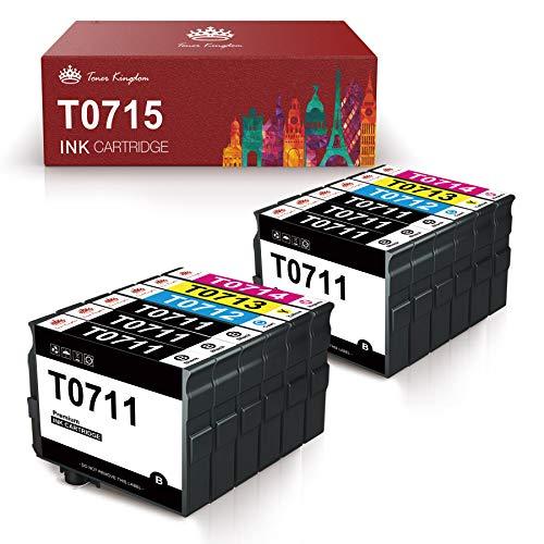 Toner Kingdom Reemplazo para Epson T0711 T0712 T0713 T0714 Cartuchos de tinta Alta capacidad Compatible con Epson Stylus SX218 SX515W DX4000 DX4400 DX7400 DX8400 SX115 SX205 SX215 SX405 SX210(12 Pack)