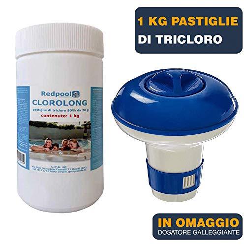 BuyStar 1kg Cloro in pastiglie per Piscina gr 20 pastiglie tricloro 90% | Trattamento Manutenzione Acqua Piscina | in Omaggio dosatore Galleggiante
