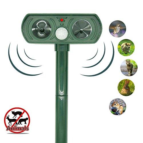 Outdoor Ultrasonic Pest Repeller, LAIER Waterproof Solar Animal Repeller Rodent and Pest Repeller Cats, Dogs, Mice, Squirrel Repellent Eliminator Pest Control PIR Sensor