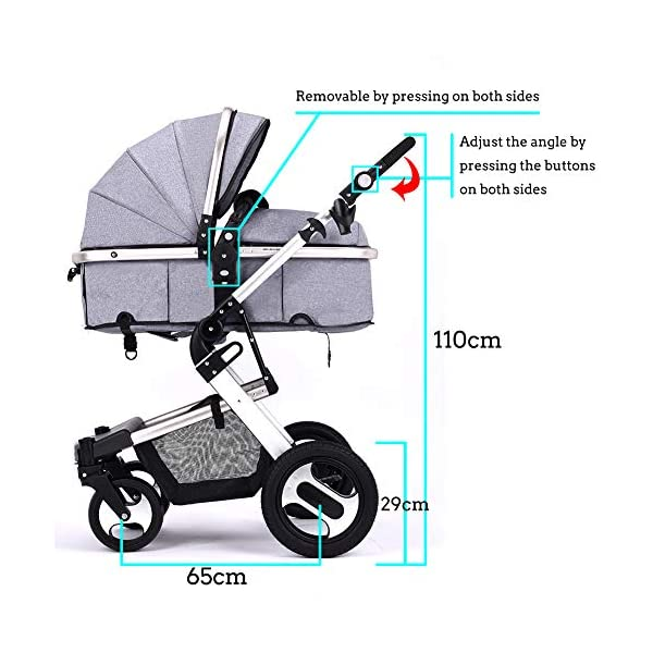 RUXGU High landscape Pushchairs 2-in-1 Baby stroller Travel Systems Folding Lightweight Newborn Safety System With Rain Cover and Mom Bag(Gray) RUXINGGU High landscape stroller, baby travel system High-performance shock absorption guarantees comfort for infants Spacious basket, high view, suitable for outdoor use 2