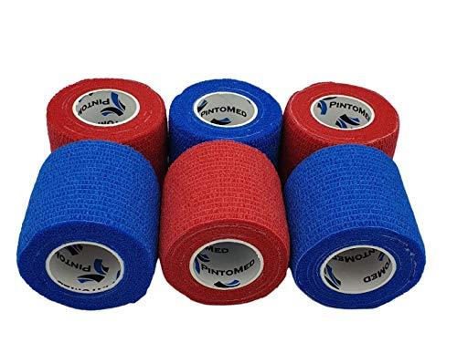 Venda Cohesiva 3 Rojo + 3 Azul = 6 rollos x 5 cm x 4,5 m autoadhesivo flexible vendaje, calidad profesional, primeros auxilios, lesiones de los deportes, rodillos embalados individualmente - Pack de 6