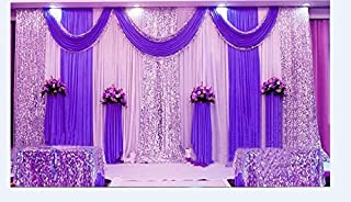 Wedding Stage Decorations Backdrop Party Drapes with Swag Silk Fabric Curtain (Ivory White + Purple)