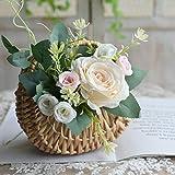 Redsa Mini cestas de mimbre de paja de media luna, cesta de flores tejida a mano con asa, contenedores de almacenamiento retro, color caqui