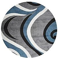 U/S カーペット 洗える 滑り止め付き 耐摩耗性 贈り物 ファッション 滑り止めドアマットラウンド /Gyujty (60cm)