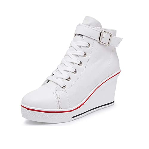 7bfdd10b27da Sokaly Women s Girl s Canvas Wedge Sneaker Ladies Trainers Lace Up Side Zip  High-Top Platforms
