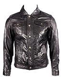 Para hombre del camionero Denim Western Slim Fit Camisa de cuero Negro Jeans Chaqueta de motorista...