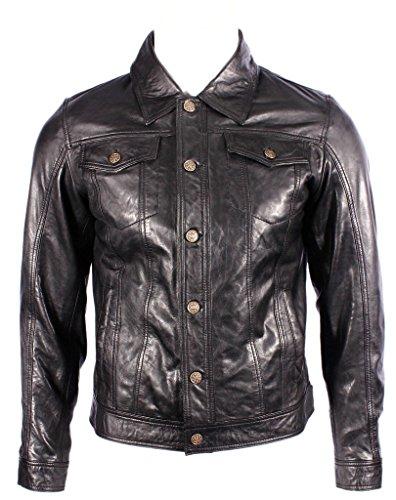 Para hombre del camionero Denim Western Slim Fit Camisa de cuero Negro Jeans Chaqueta de motorista M