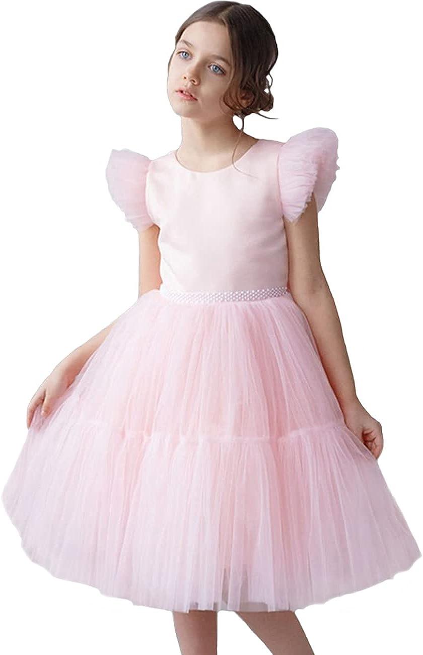 Adaniwli Big Girls Bridesmaid Dress Backless Princess Dress Tulle Wedding Flower Girl Dress