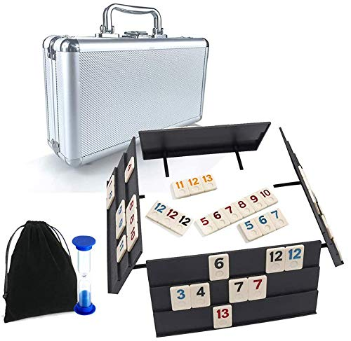 Rummy Game 106 Tiles Rummy Game Board Game Rummy Cubes Sets with Case Okey 101 Games Travel Size Suits for 24 Player