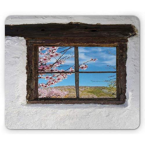 Amandelbloesem muismat, amandelgroef achter oude rustieke houten raam pastorale fotografie, antislip rubberen muismat