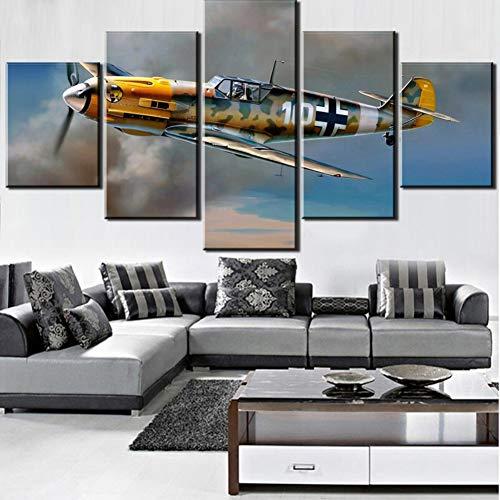 TIANJJss 5 canvas prints HD-print 5 canvas schilderij vliegtuig poster retro decoratie slaapkamer woonkamer home kunst fotolijst