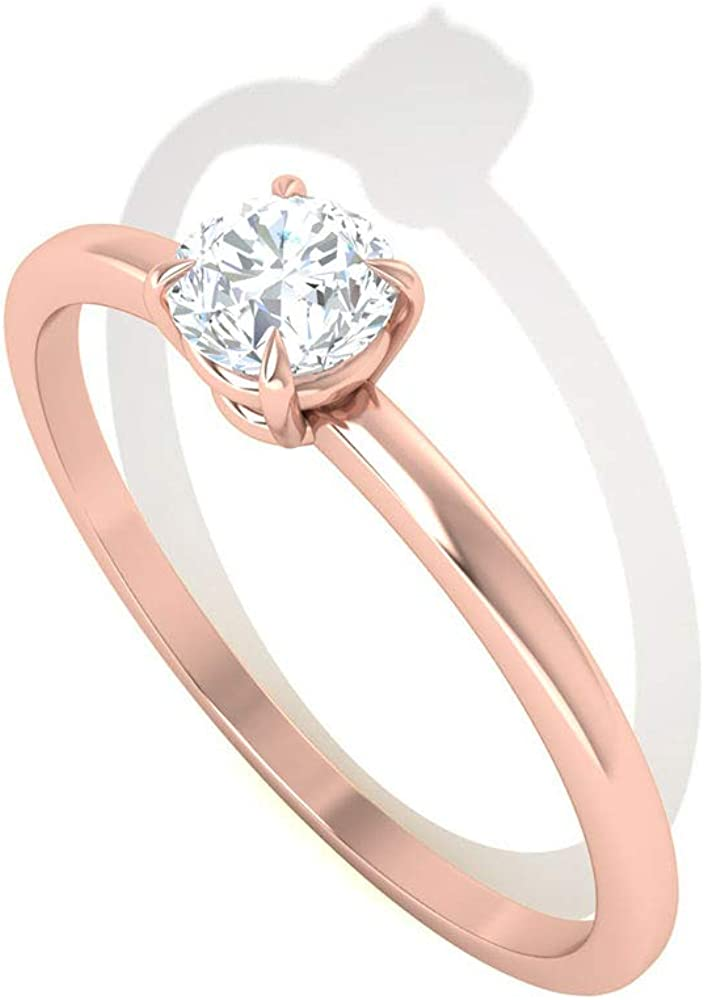 Custom 1/4 CT Solitaire Certified Diamond Engagement Ring, Prong HI-SI Diamond Wedding Anniversary Ring, Unique Birthday Bridal Matching Promise Rings, 14K Rose Gold, Size:US 9.5