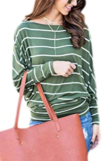 Womens Long Sleeve Striped Shirts Loose Casual Off Shoulder Boat Neck Tops Blouses