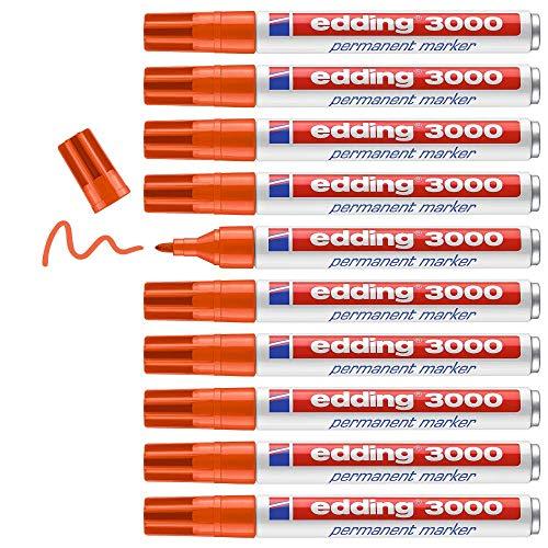 Edding 3000 marcador permanente - naranja - 10 rotuladores - punta redonda 1.5-3 mm - indeleble de secado rápido - resistente al agua y a los borrones - cartón, plástico, madera, metal - universal