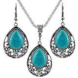 Nurbo 1 X Fashion Women's Retro Turquoise Rhinestone Earrings Necklace Jewelry Set