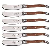 flying colors set di coltelli da burro laguiole. acciaio inossidabile, manico in legno, 6 pezzi.i-lg05wd