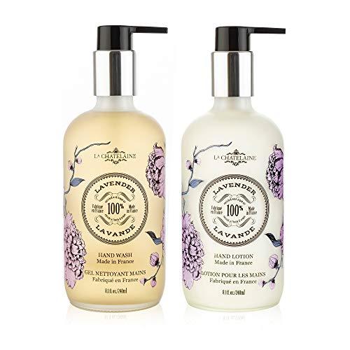 La Chatelaine Hand Wash & Lotion Set | Frosted Glass Bottles 8.1 oz. (Lavender)