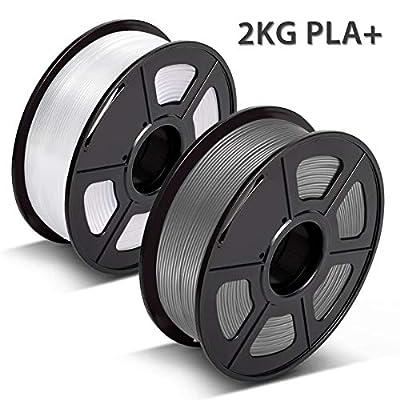 3D Warhorse PLA Plus(PLA+) Filament, PLA Plus(PLA+) Filament 1.75mm, Dimensional Accuracy +/- 0.02 mm, 4.4 LBS(2KG), Bonus with 5M PCL Nozzle Cleaning Filament, White+Grey