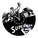 Superman Vinyl Clock Wall Accessories, Superwoman Wall Art, Batman vs Superman Vinyl Recor, Action Comics Art Clock, Cute Wall Decor, Unique Gifts