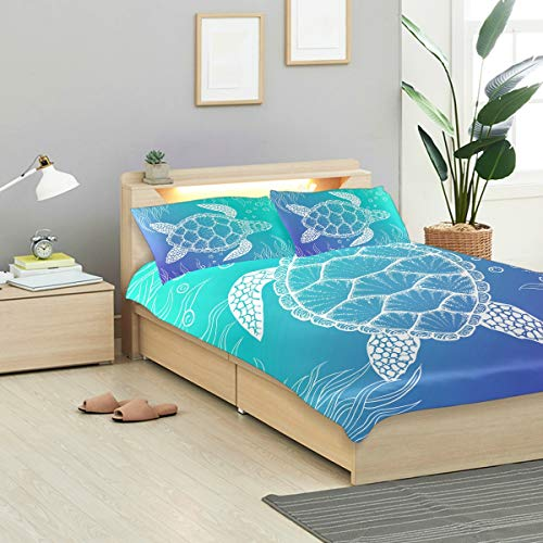 ALAZA Bedding Sets 3 Piece Sea Turtle Under Water Boho Style Kids Duvet Cover Set with Zipper, Best Teen Girls Bedding Gifts Set Children Bed Set,No Comforter