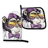 Lawenp Gafas de Sol Guantes de Horno Mono chimpancé, Guantes aislados para microondas, Guantes Resistentes a Altas temperaturas, Antideslizantes, Anti escaldaduras, Ideales para manipular Alimentos c