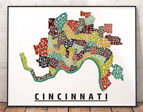 Cincinnati Neighborhood Map Print, signed print of my original hand drawn Cincinnati typography map art
