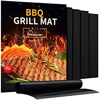 Aoocan Grill Mat - Set of 5 Heavy Duty BBQ Grill Mats Non Stick, BBQ Grill & Baking Mats - Reusable, Easy to Clean Barbecue Grilling Accessories - Work on Gas Charcoal Electric - Extended Warranty
