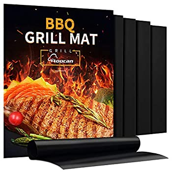 Aoocan Grill Mat - Set of 5 Heavy Duty BBQ Grill Mats Non Stick BBQ Grill & Baking Mats - Reusable Easy to Clean Barbecue Grilling Accessories - Work on Gas Charcoal Electric - Extended Warranty