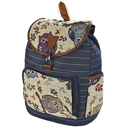 ASAB Bagpacks for Kids [ Boys & Girls ] - Secondary School Backpack - Teenagers Rucksacks - Students Bags - Owl Denim