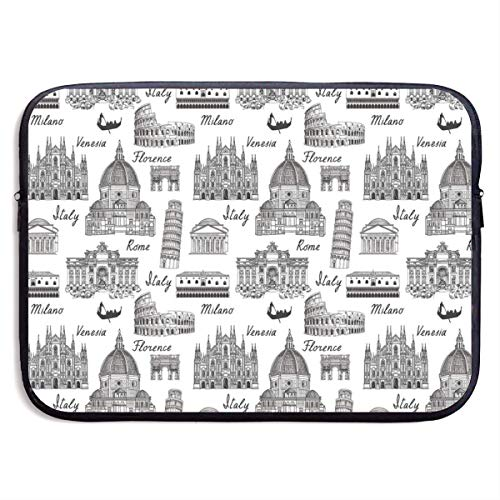 Judascepeda Messenger Shoulder Bag Monochrome Sketch Style Famous Places from Italy Rome Milano European Architecture Strap Laptop Bag for Men Women 13 Inch