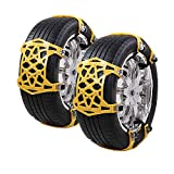 6 Pack Automotive Snow Chains, Universal Emergency Anti-slip Chains, Portable Easy To Mount Emergency Traction, For Car/Truck/SUV Tire Width 165mm-285mm (Yellow)
