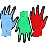 Vremi Heavy Duty Gardening Gloves for Men and Women - 3 Pack Medium Size Bamboo Nitrile Coated Indoor and Outdoor Garden Gloves for Vegetable Roses or Flower Gardens - Blue Green and Red