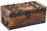 Cofre del tesoro grande 30 x 15 x 13 cm madera maciza marrón