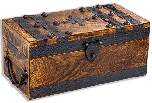 Grand coffre au trésor en bois massif Marron 30 x 15 x 13 cm