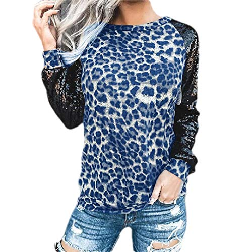H&E Women's Crewneck Sequins Leopard Print Stitching Long Sleeve Fashion T-Shirt Blue US S