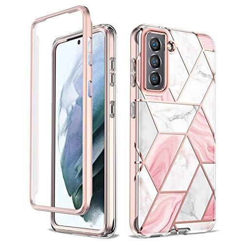 Funda Compatible con Samsung Galaxy S21,Cubierta Protectora A Prueba De Golpes De 360 Grados Robusta,Diseño Único, Patrón de mármol (Patrón de mármol de Oro Rosa)