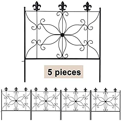 MIXXIDEA Metal Garden Fence Border, 24.2 in x 10ft Decorative Garden Fencing, 5 Pieces Rusproof Fencing for Garden Border, Durable Flower Bed Fencing, Wrought Iron Fence for Garden for Outdoor, Patio