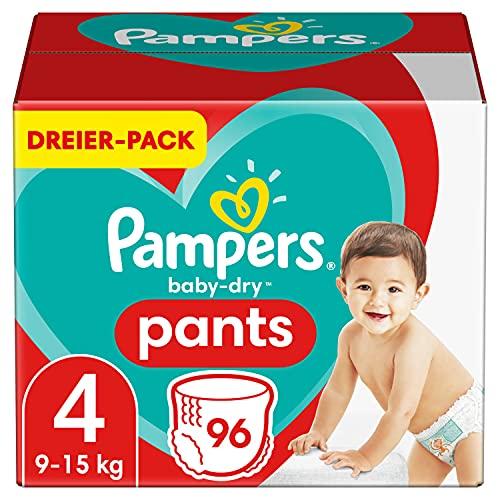 Pampers Windeln Pants Größe 4 (9-15kg) Baby Dry, 96 Höschenwindeln, Einfaches An- und Ausziehen, Zuverlässige Trockenheit