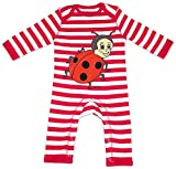 HARIZ Baby Strampler Streifen Marienkäfer Kleeblatt Tiere Kindergarten Plus Geschenkkarten Feuerwehr Rot/Washed Weiß 3-6 Monate