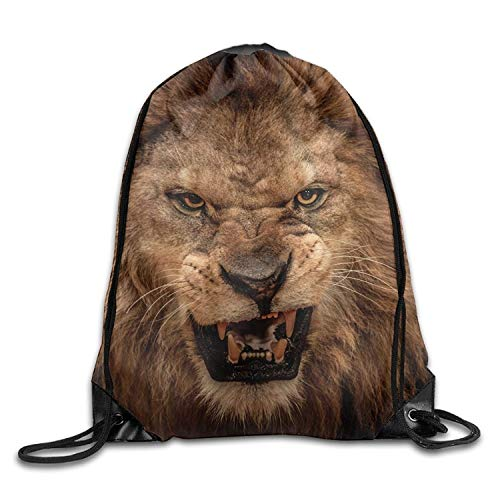 JIMSTRES Lion Funny Gym Drawstring Bags Travel Backpack Tote School Rucksack