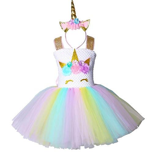 cef0ce7988 Pastel Unicorn Tutu Dress for Girls Kids Birthday Party Unicorn Costume  Outfit with Headband Size 2T
