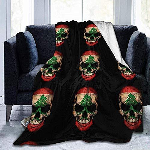alice-shop Manta de vellón Micro Suave y Suave del cráneo de la Bandera libanesa, Ideal para Viajes de Oficina de Dormitorio